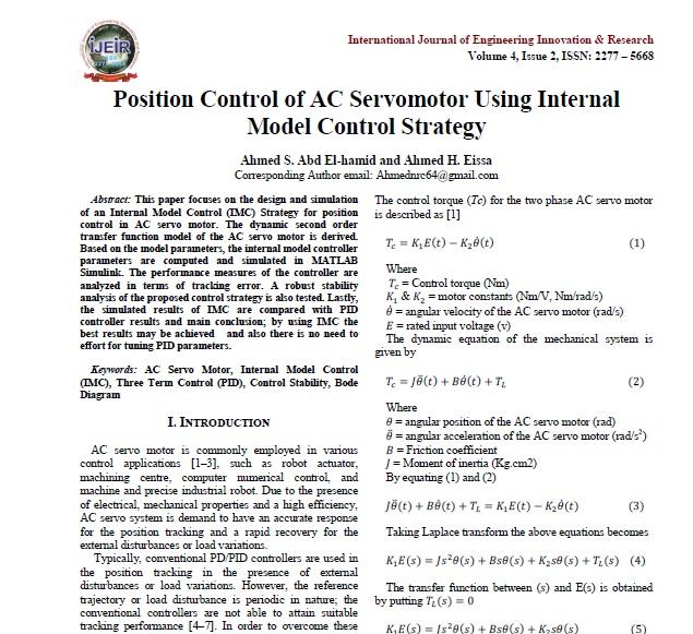 کنترل موقعیت موتور AC سروو با استفاده از استراتژی کنترل مدل داخلی