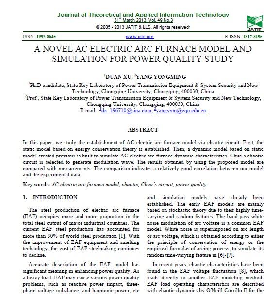 مدل جدید کوره قوس الکتریکی AC و شبیه سازی برای بررسی کیفیت توان