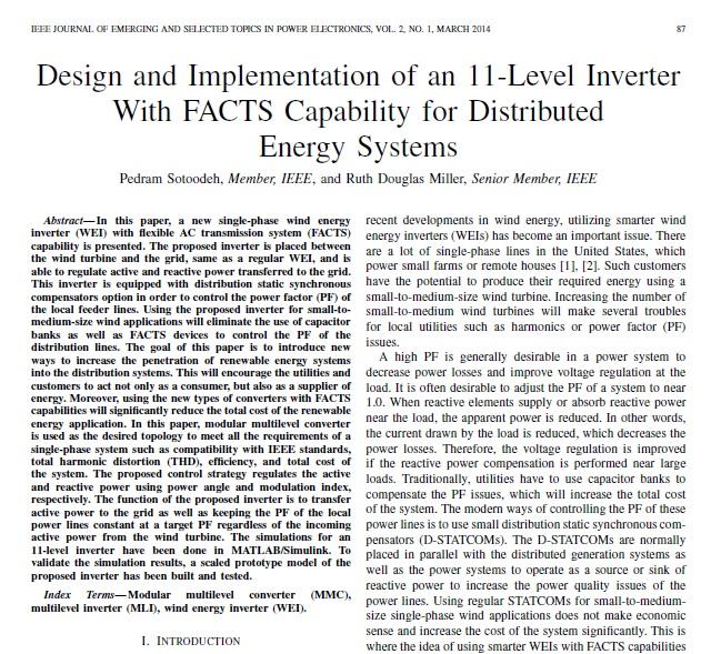 طراحی و پیاده سازی اینورتر 11 سطحی با قابلیت ادوات فکت جهت سیستم های توزیع انرژی