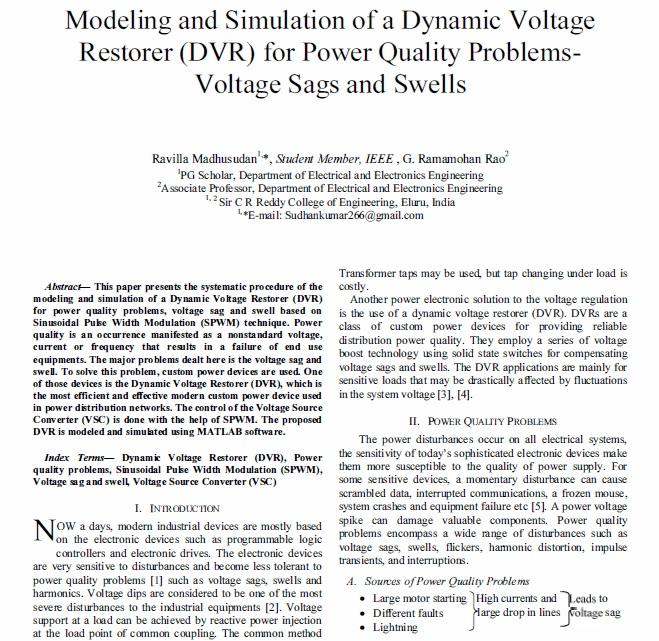 مدلسازی و شبیه سازی یک بازگردان ولتاژ دینامیک (DVR) برای مسائل کیفیت توان- تضعیف و افزایش ولتاژ