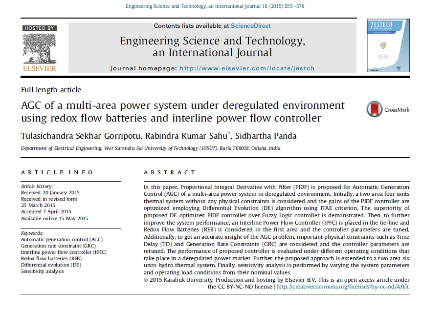 AGC از یک سیستم قدرت چند منطقه در محیط های آشفتگی جریان با استفاده از باتری های اکسیداسیون و کاهش و کنترل جریان برق در میان سطرها