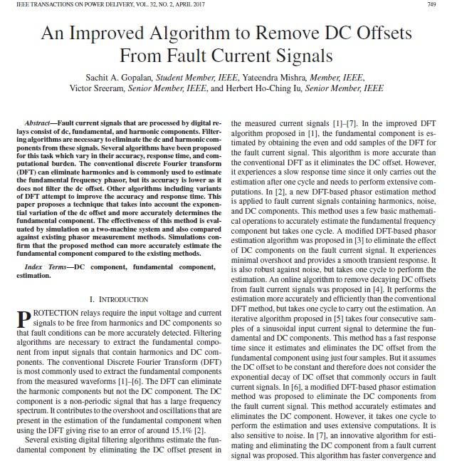 یک الگوریتم بهبود یافته برای حذف افست DC از سیگنال های جریان خطا