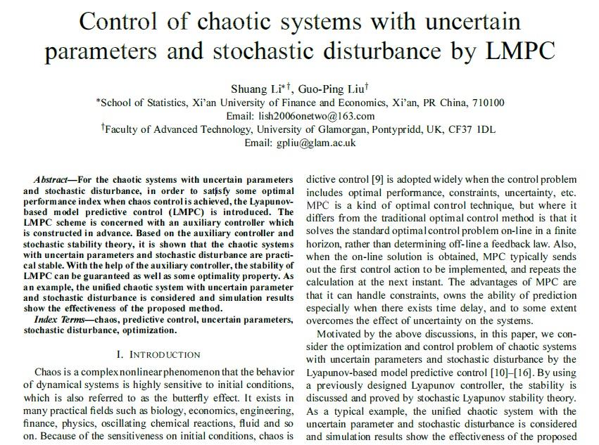 شبیه سازی مقاله کنترل سیستم های آشوب همراه با عدم قطعیت پارامتری و تغتشاشات تصادفی به روش LMPC
