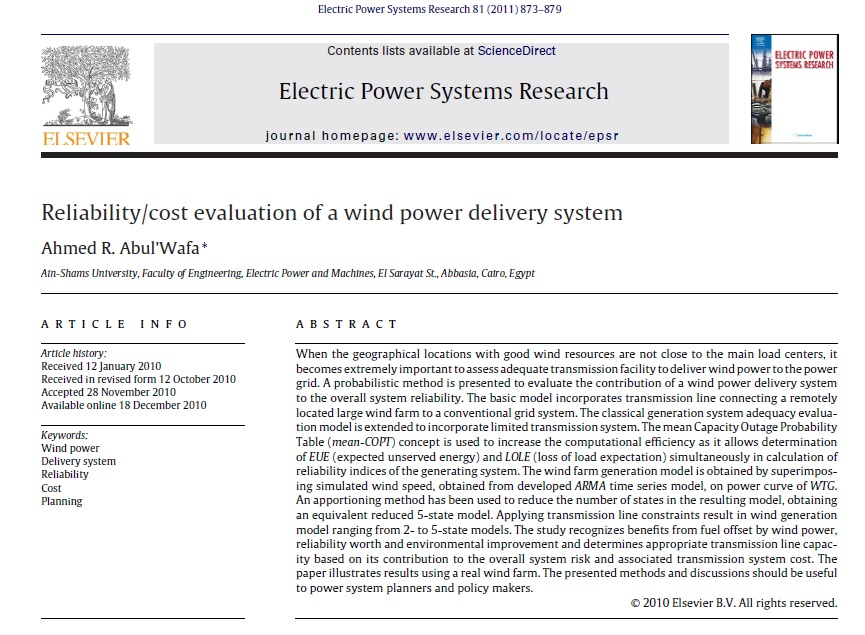 ارزیابی قابلیت اطمینان/هزینه یک سیستم تحویل توان باد