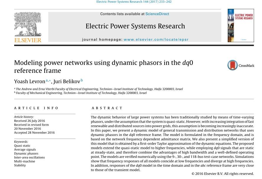 مدلسازی شبکه های برق با استفاده از فازورهای دینامیکی در چارچوب مرجع dq0