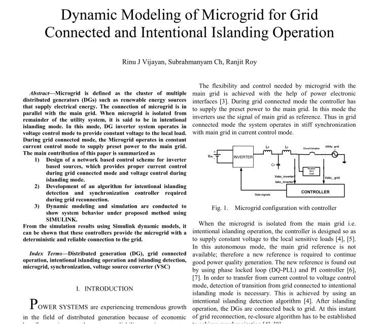 مدلسازی دینامیکی میکروگرید برای شبکه متصل و عملیات عمدی جزیره ای
