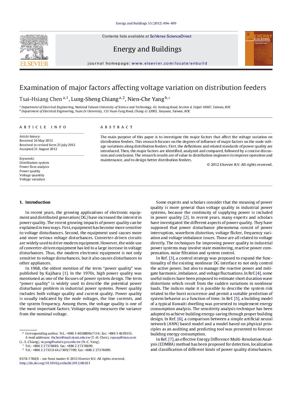 بررسی عوامل اصلی تاثیرگذار روی تغییر ولتاژ فیدرهای توزیع