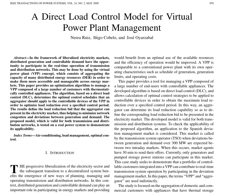 مدل بارهای کنترل پذیر به صورت مستقیم جهت مدیریت مجازی آنها مثل نیروگاه ها