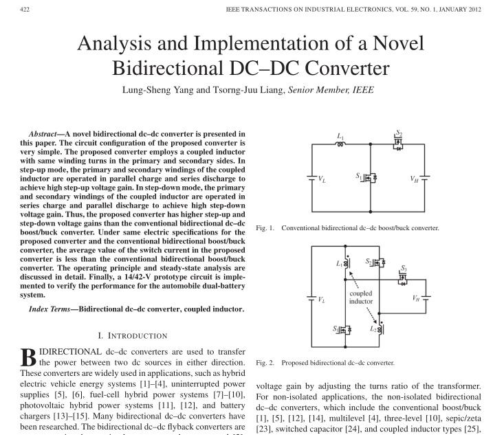 تجزیه و تحلیل و پیاده سازی تبدیل جدید دوسویه DC-DC