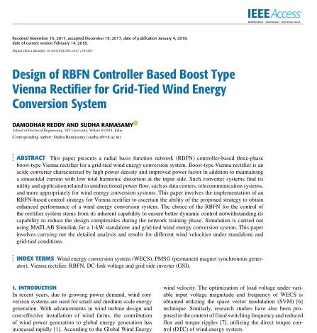 طراحی رکتیفایر (یکسوساز) وینای افزایشی مبتنی بر کنترلر RBFN برای سیستم تبدیل انرژی بادی متصل به شبکه