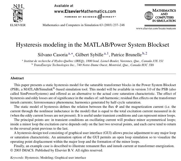 مدل سازی هیسترز در بلوک MATLAB / Power System