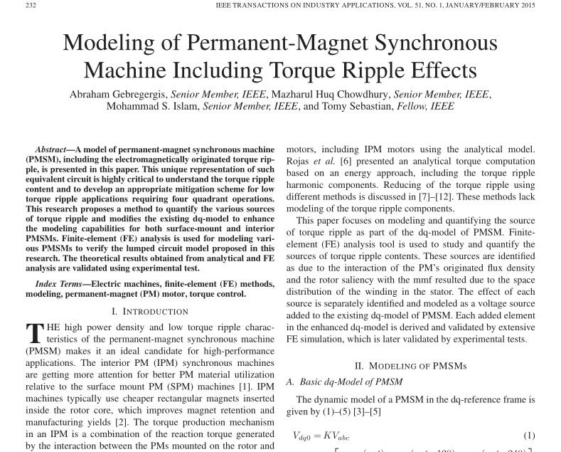 مدل سازی ماشین سنکرون مغناطیس دائم شامل اثرات موجدار گشتاور