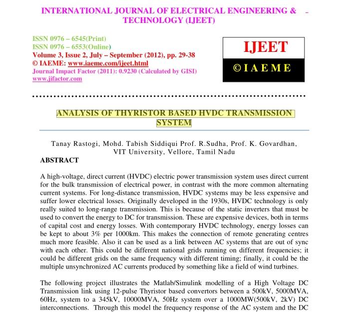 تحلیل تریستور بر اساس سیستم انتقال HVDC