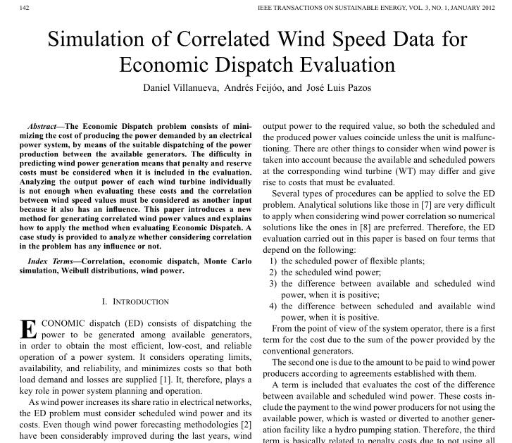 شبیه سازی همبستگی داده های سرعت باد برای ارزیابی پخش بار اقتصادی