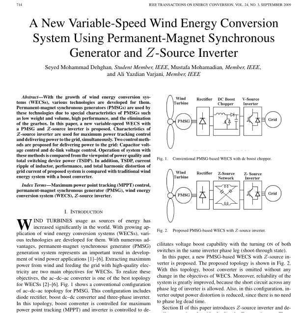 یک سیستم تبدیل انرژی سرعت متغیر باد با استفاده از ژنراتور مغناطیس دائم و اینورتر z سورس
