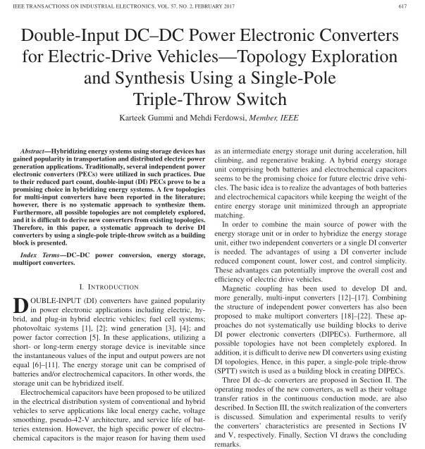 شبیه سازی مبدل الکترونیک قدرت DC-DC دو ورودی برای ماشین الکتریکی