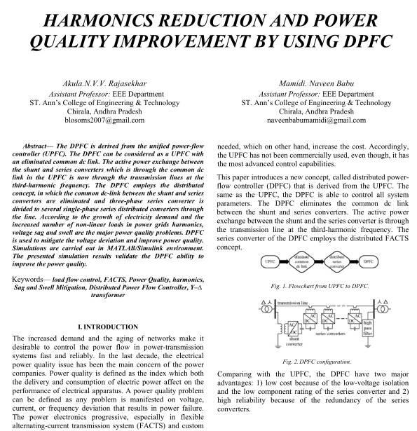 تبادل توان اکتیو در کنترل کننده پخش توان توزیع شده (DPFC) در فرکانس سوم هارمونیک