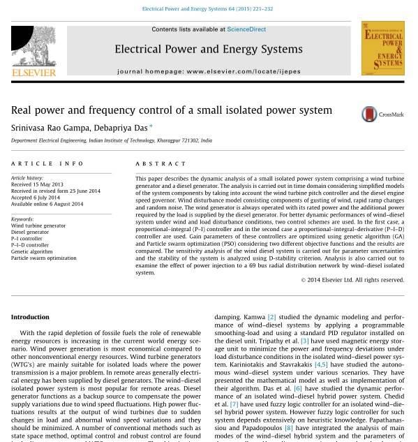 کنترل توان اکتیو و فرکانس یک سیستم قدرت کوچک ایزوله